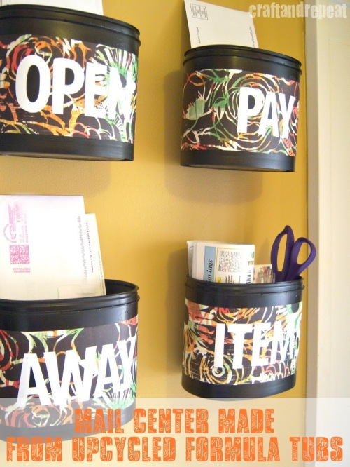 diy mail center upcycled formula tubs cafemom. Black Bedroom Furniture Sets. Home Design Ideas