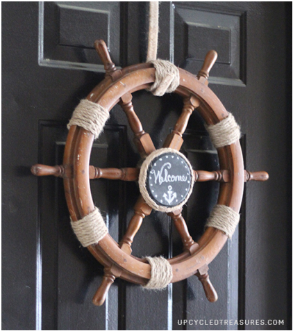 Upcycled Ship Helm into Nautical Wreath
